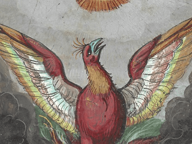 Illustration of phoenix from Guy de la Garde, L'Histoire et description du Phoenix