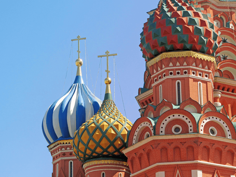 Multicoloured Church domes, Moscow