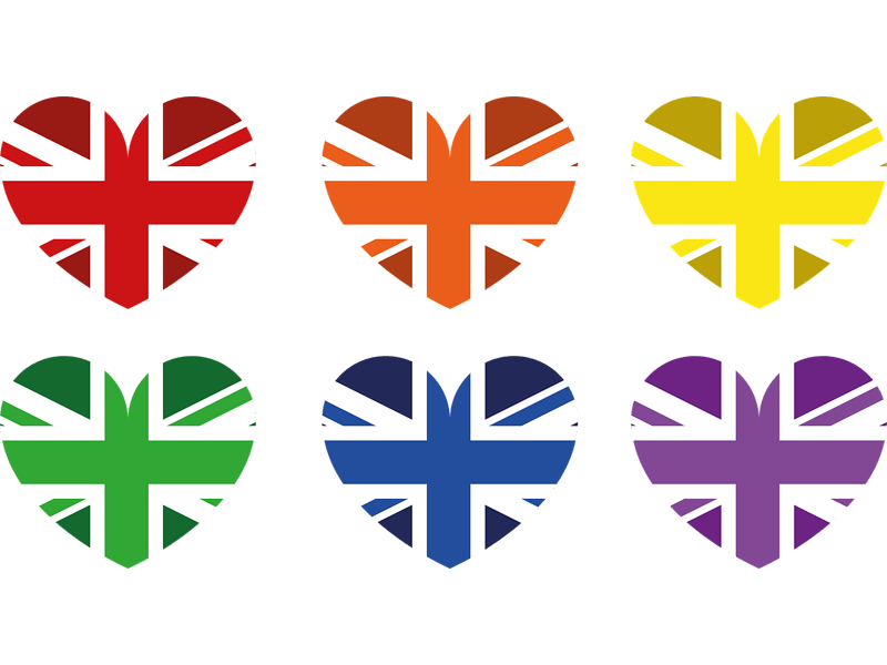 Heart shaped UK Flag in six colours