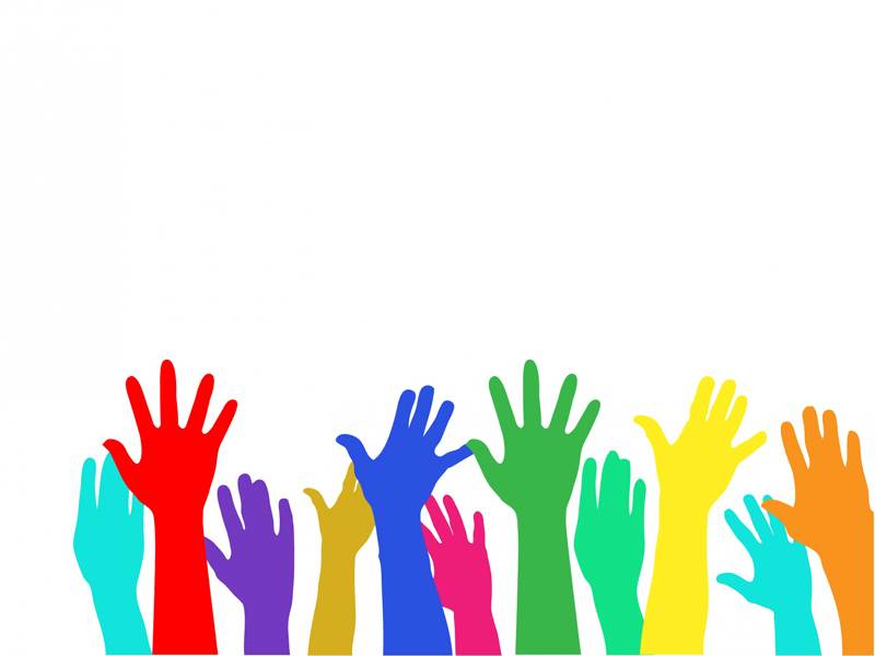 Graphic of colourful raised hands
