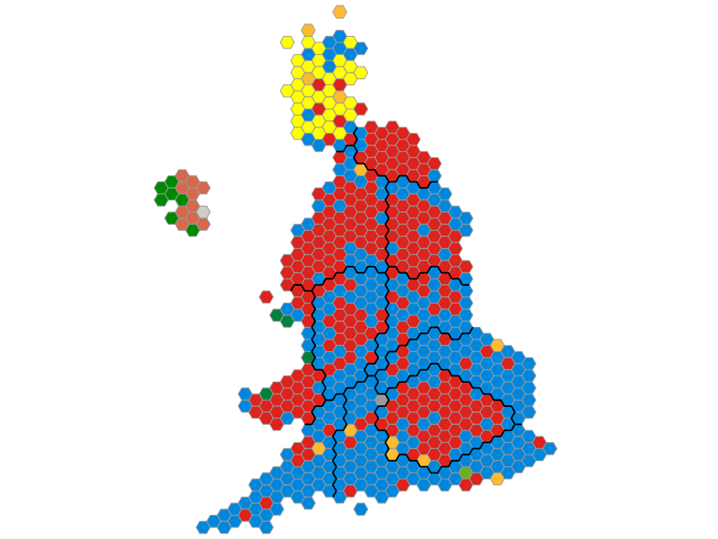 Alternative map showing election results