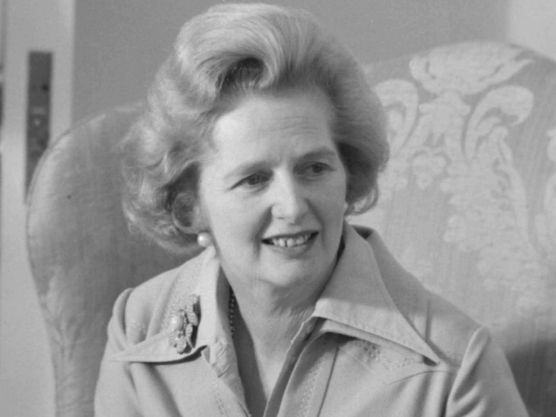 Black and white portrait photo of Margaret Thatcher