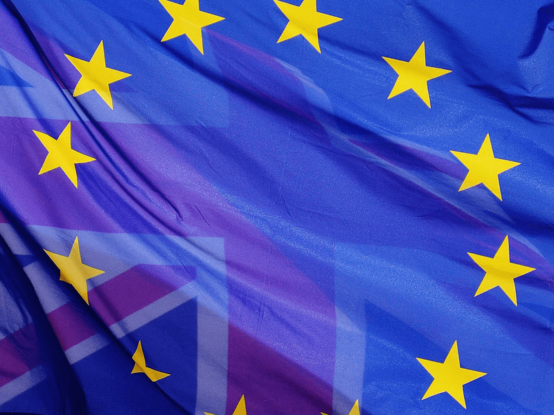 Torn European Union Flag